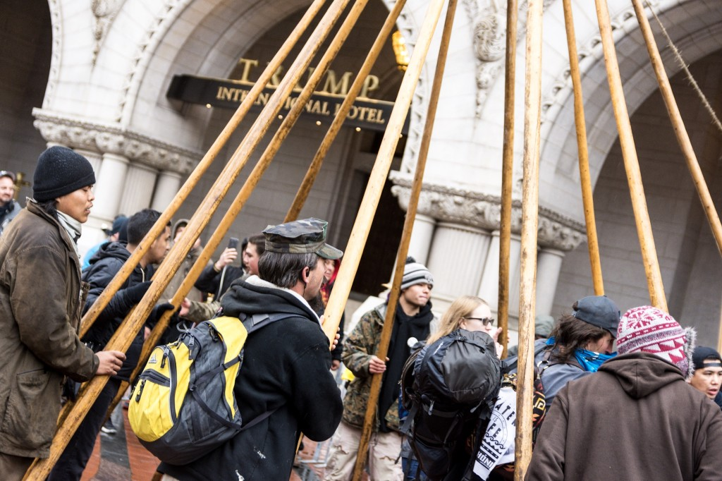 Protesters Build Teepee Outside Trump Hotel