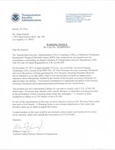 Letter from TSA